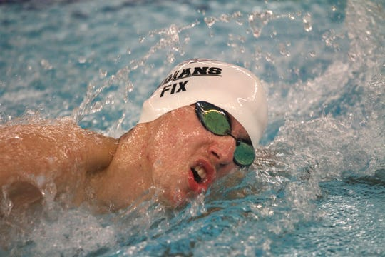 Indianola's Owen Fix competes in the 200-yard freestyle relay. Indianola hosted Southeast Polk for a Jan. 7 swim meet.