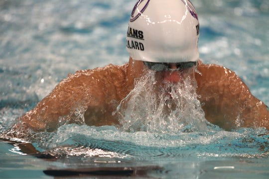 Indianola's Nathan Pollard swims the second leg of the 200-yard medley relay. Indianola hosted Southeast Polk for a Jan. 7 swim meet.