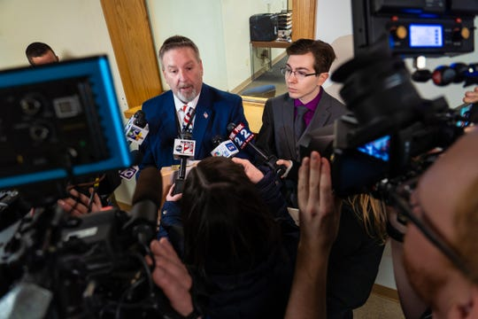 Attorney Doug Corwin speaks to press after his client Mark Latunski made a video appearance at the 66th District Court in Corunna on Wednesday, January 8, 2020 for his probable cause hearing. Latunski is accused of killing and eating parts of his Grindr date, Kevin Bacon of Swartz Creek,  at Latunski's home in Bennington Township.