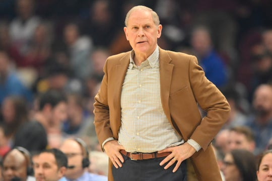 Cleveland Cavaliers head coach John Beilein reacts in the second quarter against the Detroit Pistons at Rocket Mortgage FieldHouse on Tuesday, Jan. 7, 2020, in Cleveland.