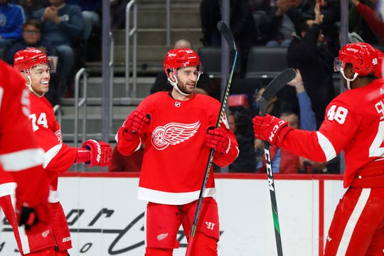 Detroit Red Wings center Frans Nielsen celebrates his goal against the Montreal Canadiens in the second period of an NHL hockey game Tuesday, Jan. 7, 2020, in Detroit.