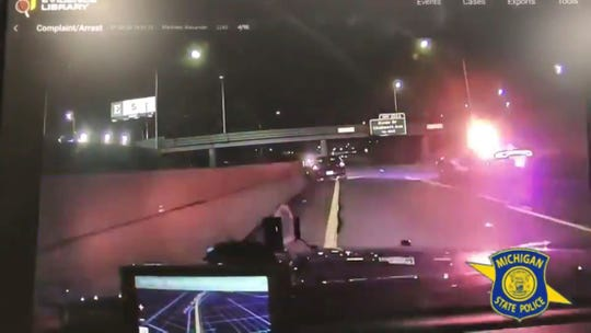 Screen cap of MSP car chase video from Twitter