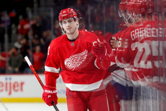 Detroit Red Wings right wing Filip Zadina (11) celebrates with teammates after scoring a goal in the third period against the Montreal Canadiens at Little Caesars Arena on Tuesday, Jan. 7, 2020, in Detroit.