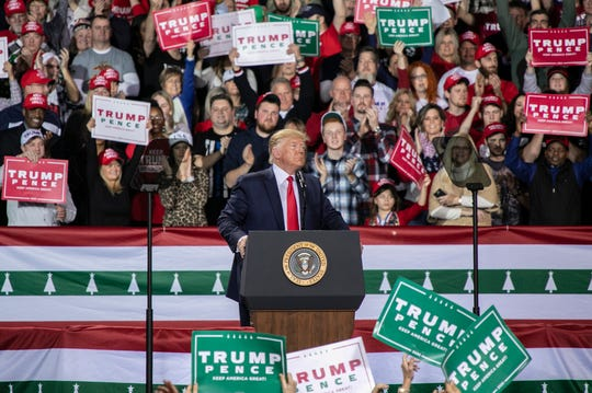 A large crowd waited in below freezing temperatures to see President Donald Trump speak during a rally held at the Kellegg Arena in Battle Creek, Michigan Wedensday, Dec. 18, 2019.