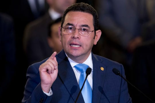 File - In this Jan. 7, 2019 file photo, Guatemala's President Jimmy Morales gives a statement, at the National Palace in Guatemala City.