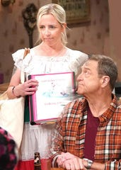 "Lecy Goranson plays the elder daughter on ABC's ""The Conners,"" and John Goodman plays her father."