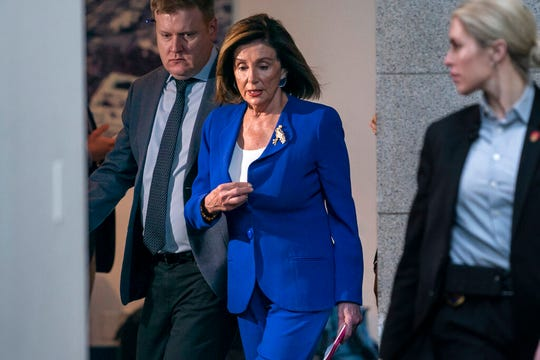 Speaker of the House Nancy Pelosi, D-Calif., arrives to meet with other House Democrats on the morning following Iranian attacks on bases in Iraq housing U.S. troops, at the Capitol in Washington, Wednesday, Jan. 8, 2020.