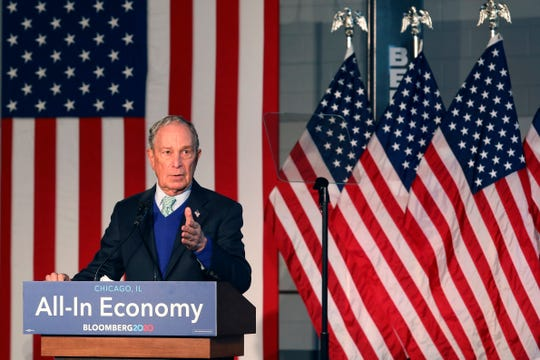 Democratic presidential candidate Mike Bloomberg, former mayor of New York City, speaks during a rally at Olive-Harvey College in Chicago Wednesday, Jan. 8, 2020.