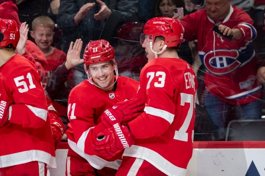 Detroit right wing Filip Zadina, left, and Detroit left wing Adam Erne celebrate Zadina's goal in the third period.