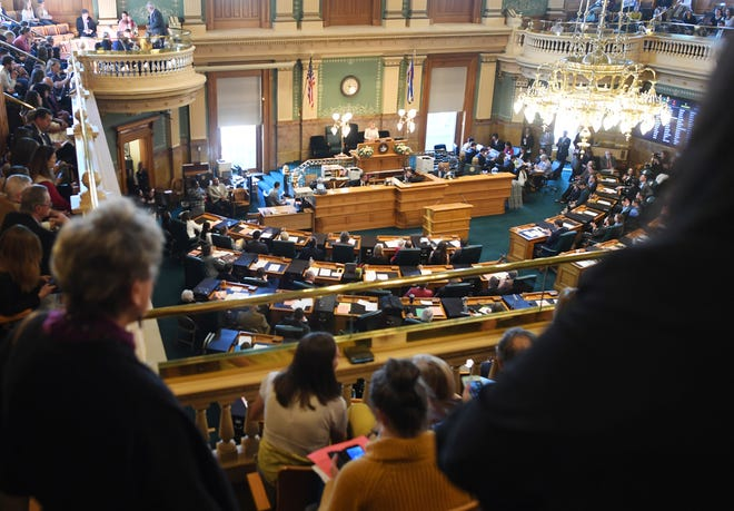 Speaker of the House KC Becker (D) addresses the House on the Second Regular Session of Colorado's 72nd General Assembly at the Colorado State Capitol on Wednesday, January 8, 2020 in Denver.