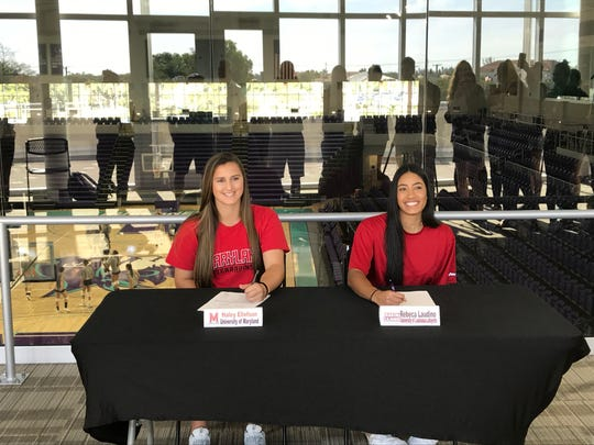 FSW softball standouts Haley Ellefson and Rebeca Laudino signed letters of intent to continue their careers at Maryland and Louisiana on Wednesday.