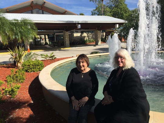 Gloria Raso Tate, left, and ToniRae Hurley, co-chairs of the Jubilee Celebration event, sit outside the Cape Coral Yacht Club ballroom, the site of the Jan. 24 event.