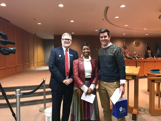 County Council, the Greenville News and Greenville Federal Credit Union honored three Greenville News Community Heroes at County Square on Tuesday, Jan 7, 2019. From left: Paul Hughes, Katrice Hardy and Will Snipes.