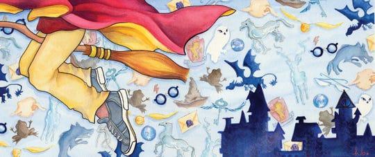 """little wizard boy.""  gouache on watercolour paper, 6x14"