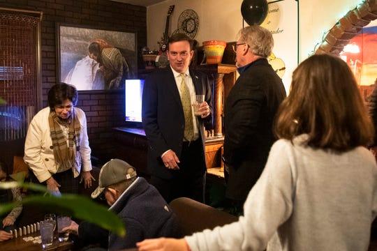 Hobart Lewis mingles during his watch party at El Matador Restaurant Tuesday, Jan. 7, 2020.