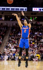Jan 7, 2020; Columbia, South Carolina, USA; Florida Gators guard Andrew Nembhard (2) makes a three point basket against the South Carolina Gamecocks in the second half at Colonial Life Arena. Mandatory Credit: Jeff Blake-USA TODAY Sports