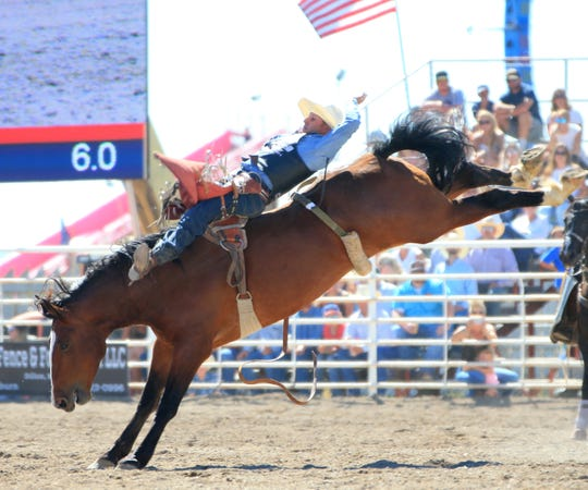 Power bareback rider Jessy Davis scores an 84 on the Sankey Pro Rodeo Phenom Genetics horse Stepping Dynamite last September in Dillon. Davis announced this will be his last season as a pro rodeo cowboy.