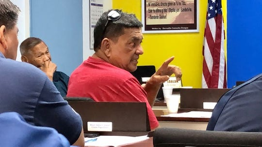 Agana Heights Mayor Paul McDonald gestures as he addresses his colleagues about a growing concern about job applicants who tested positive for marijuana and are therefore unable to fill vacant positions at mayors' offices, during a Jan. 8, 2020 meeting of the Mayors' Council of Guam.