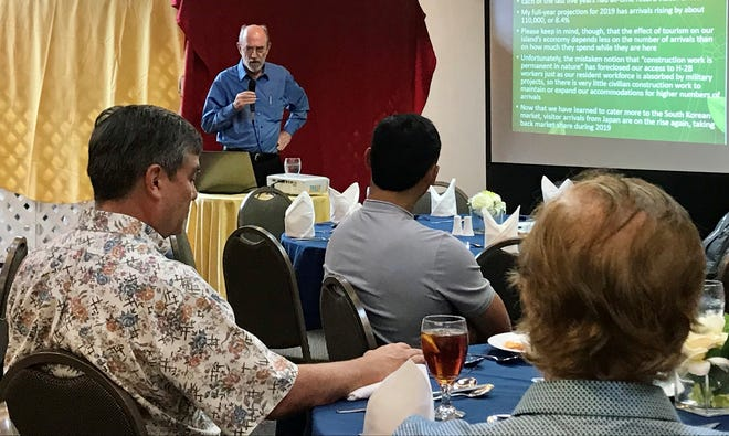 Joseph Bradley, senior vice president and chief economist and business continuity officer, provides an economic outlook for 2020 to the Rotary Club of Northern Guam on Wednesday, January 8 at the Hilton Guam Resort & Spa.