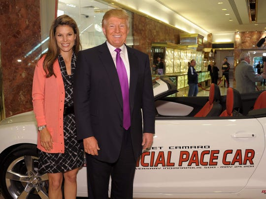 Jamie Little poses with Donald Trump in 2011. Trump was announced as the Indianapolis 500 pace car driver, but he dropped out of the role before the race.
