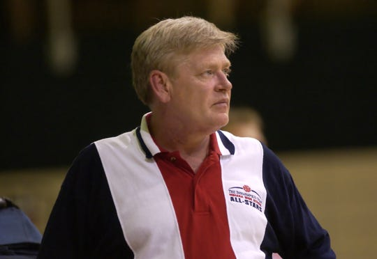 In this 2002 file photo, Steve Brunes coaches the Indiana All-Stars.