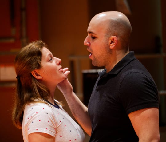 "Yulia Lysenko (Cio-Cio San) and Jeremy Brauner (Pinkerton), rehearse for CROpera's production of ""Madama Butterfly."""