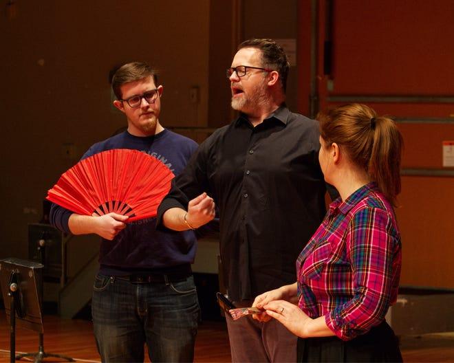 "Josh Reynolds (Prince Yamadori), A. Scott Parry (Stage Director), Yulia Lysenko (Cio-Cio San), practice for CROpera's production of ""Madama Butterfly"""