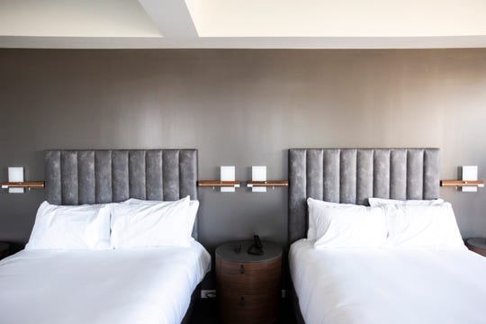 A sixth floor room with double beds is pictured, Wednesday, Jan. 8, 2020, at Hotel Chauncey in Iowa City, Iowa.