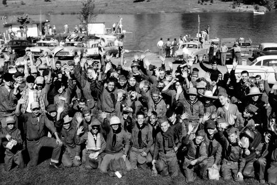 Members of the Tuckaleechee district of the Smoky Mountain Council Boy Scouts before departing on a river trip to Camp Buck Toms on April 27, 1957.