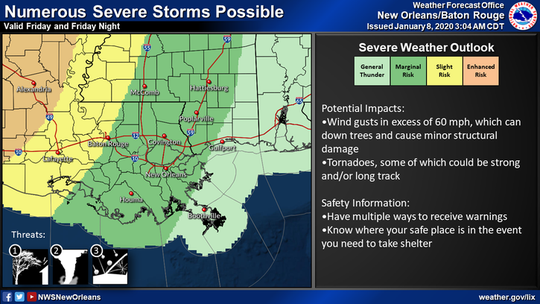 New Orleans has a marginal risk for severe weather during the weekend of the 2020 College Football National Championship.
