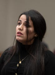 Zahrah Al-Yasari gives her victim-impact statement Wednesday, Jan. 8, 2020, in Judge Joyce Draganchuk's circuit courtroom at Veteran's Memorial Courthouse in Lansing, Michigan.  She is the brother of Ammar Al-Yasari, who was killed last February by Jacob Ficher. He was sentenced to life without parole.