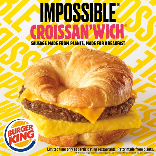 Lansing Burger King restaurants will be  testing the Impossible Croissan'wich, made with a toasted croissant, egg, cheese and a seasoned plant-based sausage from Impossible Foods beginning in late January.