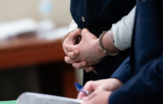 Jacob Ficher appears for sentencing in Judge Joyce Draganchuk's circuit courtroom at Veteran's Memorial Courthouse in Lansing, Michigan, Wednesday, Jan, 8, 2020, for the Feb. 2019 murder of Holt resident Ammar Al-Yasari.  He was sentenced to life without parole for first-degree murder and conspiracy to commit murder.