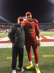 Coach JIm Heinz (left) poses at the 2016 Pro Bowl with Morgan Cox (right) of the Baltimore Ravens who he coached at ECS