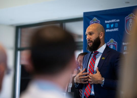 Memphis 901 FC soccer team new sporting director Tim Howard speaks at a press conference at the Home Plate Club within AutoZone Park stadium in downtown Memphis on Wednesday Jan. 8, 2020