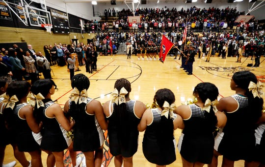 Students, faculty and guests gather in the gym at Whitehaven High School on Wednesday morning, Jan. 8, 2020.