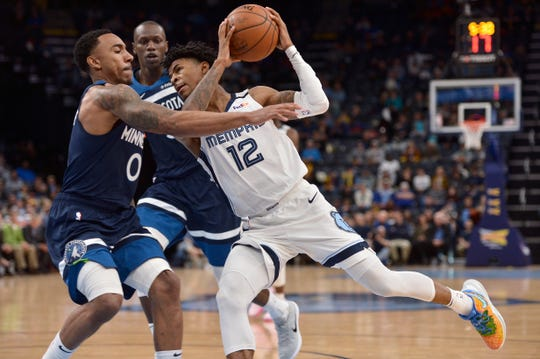 Memphis Grizzlies guard Ja Morant (12) drives against Minnesota Timberwolves guard Jeff Teague (0) during the second half of an NBA basketball game Tuesday, Jan. 7, 2020, in Memphis, Tenn.