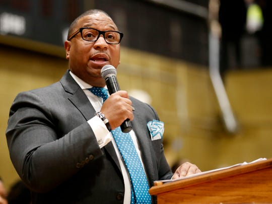 Shelby County School Superintendent Dr. Joris Ray speaks at Whitehaven High School on Wednesday morning, Jan. 8, 2020.