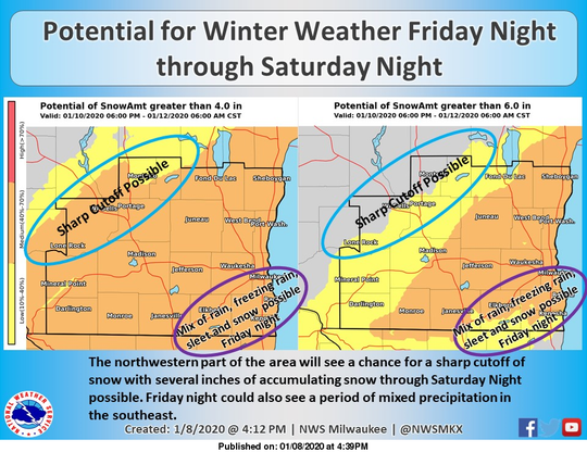 Forecasters say they are becoming more confident about the possibility for accumulating snow in southern Wisconsin this weekend.