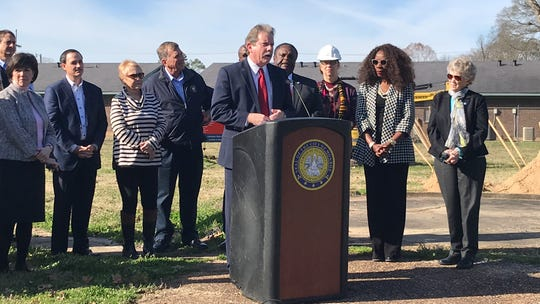 Eric Kalivoda, deputy secretary of the Louisiana Department of Transportation and Development, speaks at a groundbreaking for the clearing and grubbing phase of the Kansas Lane Connector on Jan. 8, 2020.