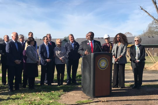 Mayor Jamie Mayo, Monroe Council Chair Juanita Woods and Vice-Chair Gretchen Ezernack at a groundbreaking for the clearing and grubbing phase of the Kansas Lane Connector on Jan. 8, 2020.