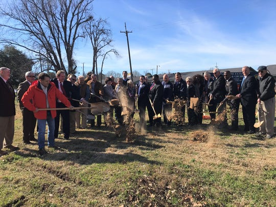 City of Monroe officials, elected officials, Monroe Chamber representatives, DOTD representatives, engineers and contractors mark the groundbreaking for a clearing and grubbing phase for the Kansas Lane Connector on Jan. 8, 2020.