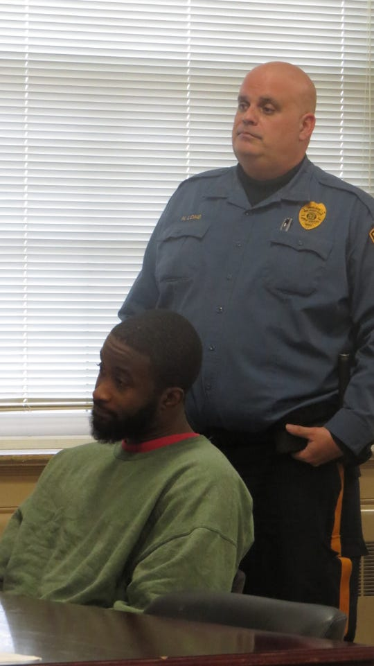 Rashid Davis, accused of killing a fellow patient at Greystone Park Psychiatric Hospital in Parsippany, appears at a detention hearing in Morristown Superior Court Wednesday, Jan. 6, 2020.