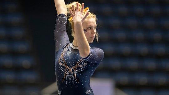 Auburn's Morgan Leigh Oldham during an NCAA gymnastics meet on Saturday, Jan. 4, 2020 in Anaheim, Calif. (AP Photo/Kyusung Gong)