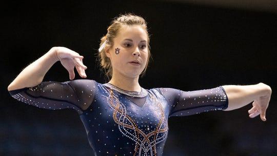 Auburn's Emma Slappey during an NCAA gymnastics meet on Saturday, Jan. 4, 2020 in Anaheim, Calif. (AP Photo/Kyusung Gong)