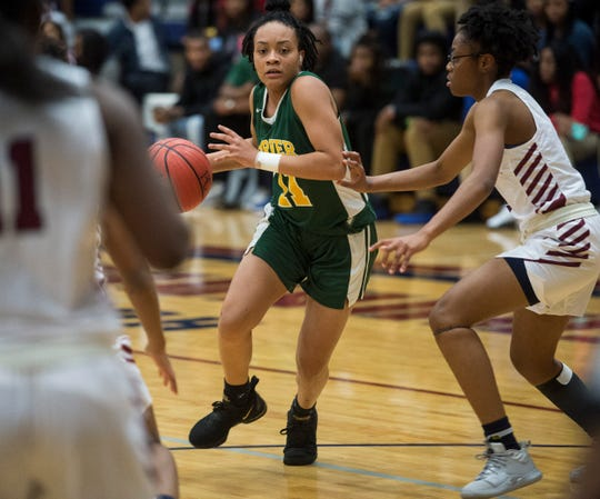 Carver's Aaliyah Ellis (11) drives the ball at Park Crossing High School in Montgomery, Ala., on Tuesday, Jan. 7, 2020.