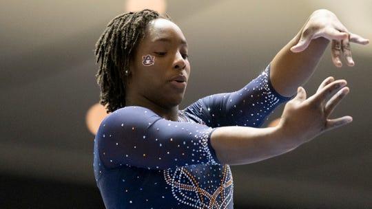 Auburn's Aria Brusch during an NCAA gymnastics meet on Saturday, Jan. 4, 2020 in Anaheim, Calif. (AP Photo/Kyusung Gong)