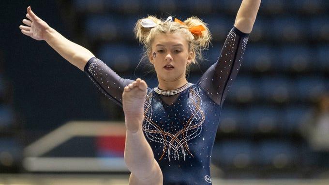 Auburn's Skyler Sheppard during an NCAA gymnastics meet on Saturday, Jan. 4, 2020 in Anaheim, Calif. (AP Photo/Kyusung Gong)
