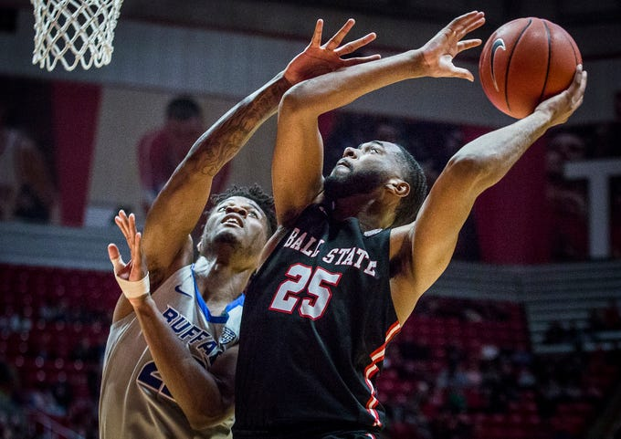 Ball State's Tahjai Teague shoots past Buffalo's defense during their game at Worthen Arena Tuesday, Jan. 7, 2020.