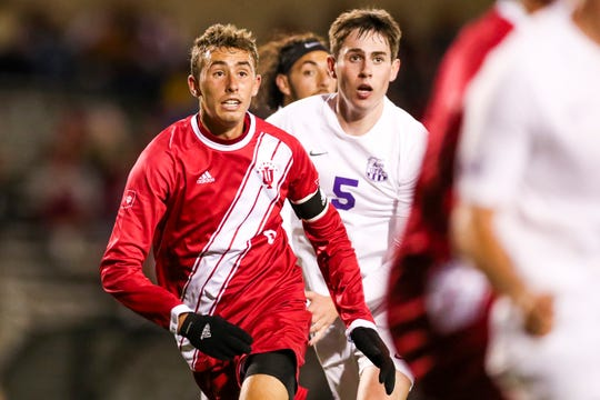 Indiana defender Jack Maher (left) during a game against the Evansville Purple Aces at Bill Armstrong Stadium in Bloomington, Ind. Oct. 22, 2019.